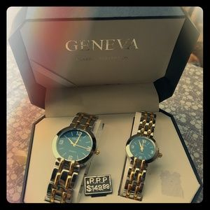 Geneva watches, his n hers blue